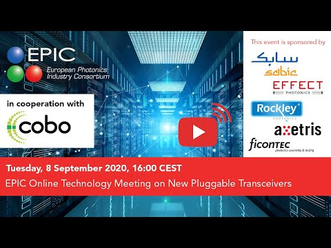 EPIC Online Technology Meeting on New Pluggable Transceivers in cooperation with COBO